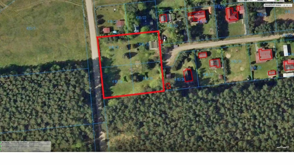 Polecamy Państwu kompleks czterech działek o łącznej powierzchni 25 arów położonych przy ścianie lasu w ...